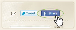 This image shows where the facebook share icon in the footer is.