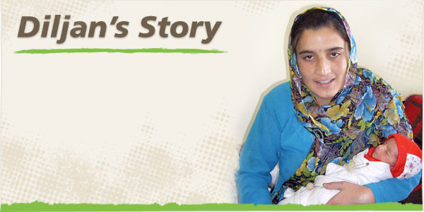 Image of Diljan holding her child in the CURE Kabul Hospital in Afghanistan (background image)