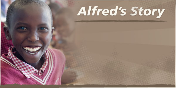 Image of Alfred smiling among his classmates; Alfred was healed of clubfoot through surgery at the AIC CURE Hospital in Kijabe, Kenya (background image)