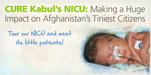 An image of a baby in the CURE International hospital of Afghanistan's NICU (background graphic)